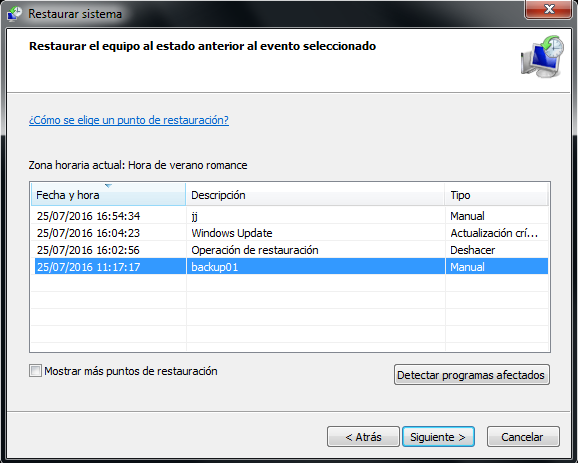 Restaurar sistema Windows