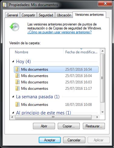 Recuperar versiones anteriores Microsoft Windows