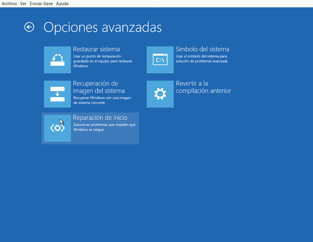 Windows 10 recuperar inicio